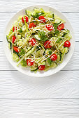 pasta salad with sprouts and veggies