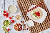 soy milk korean soup kongguksu, flatlay