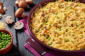 pasta, cream sauce, chicken meat tetrazzini