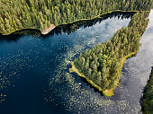 Finnish landscape in Nuuksio national park. Aerial view to lake