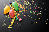 Party: Balloons, Streamer, Confetti and Party Horn Blower Still Life