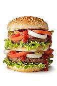 Snacks: Double Hamburger Isolated on White Background