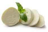 Italian Food: Mozzarella and Basil Isolated on White Background