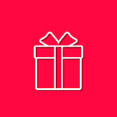 Gift box line icon. Present symbol. Thin line icon on red background. Vector outline illustration