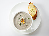 Delicate and delicious western soup on a white background