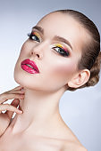 beautiful woman with bright make-up portrait