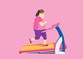 Fat woman diet with running on Electric Treadmill.