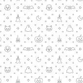 Halloween themed line icon seamless pattern