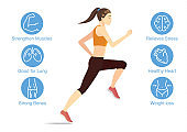 Illustration about benefits of running with healthy woman.