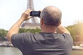 Man walks in Paris