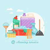 Cleaning service vector illustration in flat style.