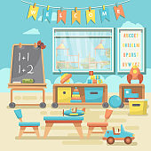 Kindergarten educational vector illustration with toys and preschool supplies in flat design