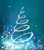 Vector  glitter Christmas tree  sparkling background.