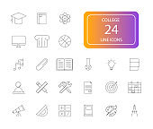 Line icon set. College pack.