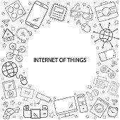 Internet of things background from line icon. Linear vector pattern.