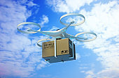 Drones carry express packages in the sky.'nPackages are transported in high-tech Settings,online shopping,Concept of automatic logistics management.3d rendering.
