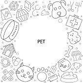 Pet background from line icon. Linear vector pattern