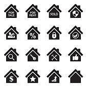 Real Estate Icons. Set 3. Black Flat Design. Vector Illustration.