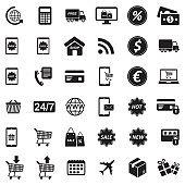 E-Commerce Icons. Black Flat Design. Vector Illustration.