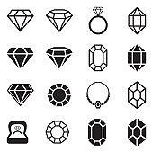 Diamond Icons. Black Flat Design. Vector Illustration.