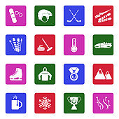 Winter Sports Icons. White Flat Design In Square. Vector Illustration.