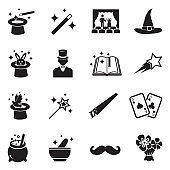 Magic Icons. Black Flat Design. Vector Illustration.