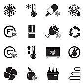 Refrigerator Icons. Black Flat Design. Vector Illustration.