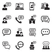 Message And Chat Icons. Black Flat Design. Vector Illustration.