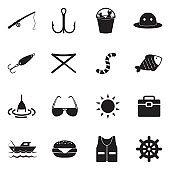 Fishing Icons. Black Flat Design. Vector Illustration.