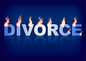 Word DIVORCE with flames on the blue background. Vector illustration.