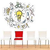 Business team different idea innovation teamwork office chairs