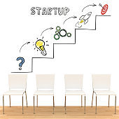 Business office chairs idea innovation startup teamwork brainstorming