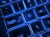 Internet login cyber security concept