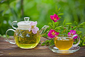 delicious green tea in  beautiful glass bowl on table