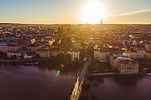 aerial view on sunrise of charles bridge in prague