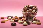 St.Nicholas day in December, children holiday in Netherlands, Belgium, Germany and Curacao, chocolate spicy ginger cookies on pink background copy space