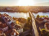 aerial view on sunrise of charles bridge in prague