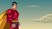 Superhero Side Profile Sky Background