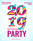 2019 Happy New Year paper cut banner