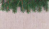 Fresh green branches of pine needles against the background of linen. Winter background