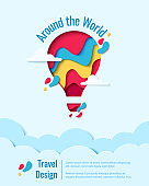 Around the World paper art hot air balloon concept