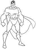 Superhero Standing Tall Line Art