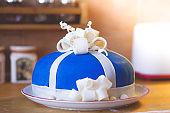 Homemade present cake , baby boy cake