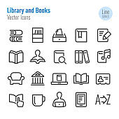 Library and books Icons - Vector Line Series