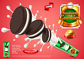 Sandwich cookies ads vector background