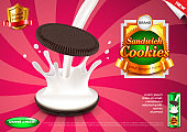 Sandwich cookies and pouring milk ads vector background