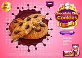 Cookies in chocolate splash ads vector background