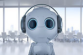 robot with headset