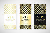 Gold grid. Vip invitation templates.