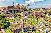 View on the Roman Forum: the Temple of Castor and Pollux, the Arch of Septimius Severus, the Temple of Saturn, the Temple of Vespasian and Titus and Basilica Aemilia